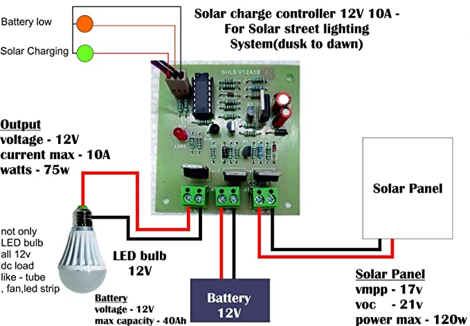 Solar Street Light Charge Controller 12V 10A - Dusk to Dawn