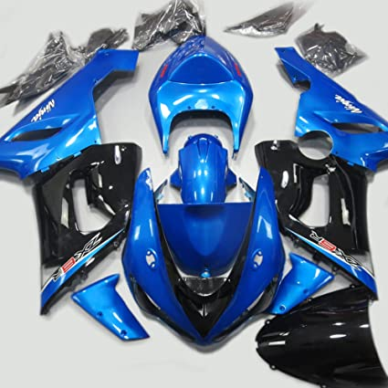 ABS Injection Molding - Black & Blue Painted with Graphic Fairings for KAWASAKI NINJA ZX-6R 636 (2005-2006)