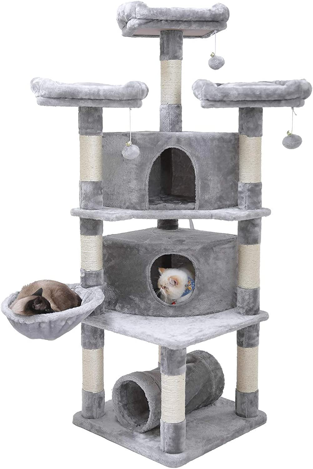 "Hey-bro 65"" Extra Large Multi-Level Cat Tree Condo Furniture with Sisal-Covered Scratching Posts, 2 Bigger Plush Condos, Perch Hammock for Kittens,..."