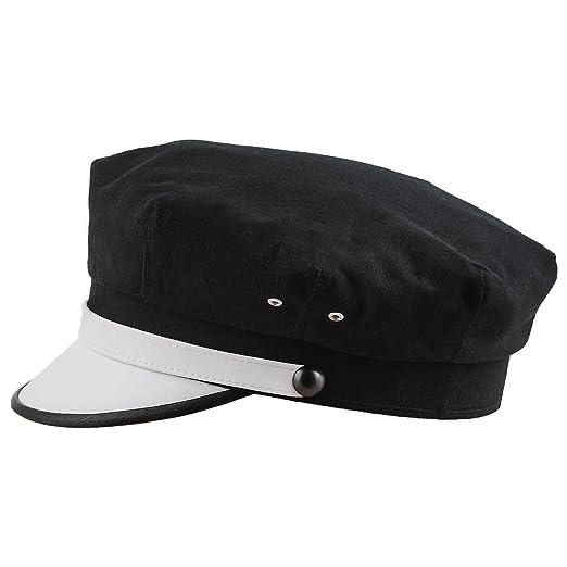9bcf7fc6dd8 Sterkowski Retro Elvis Style Moto Hat Pure Cotton US 6 3 4 Black White