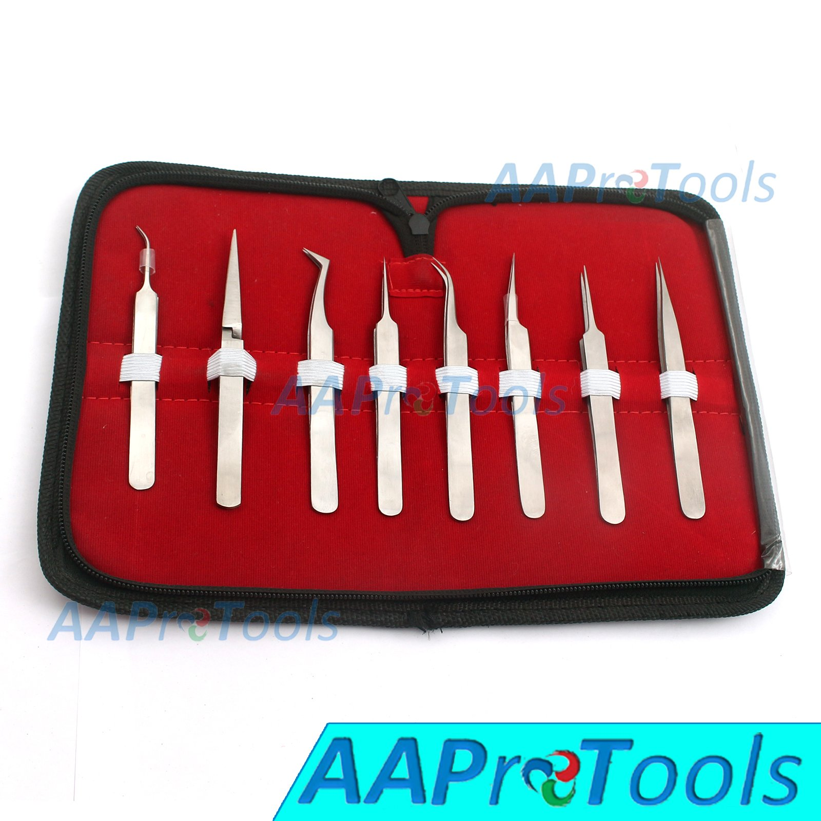 AAPROTOOLS SET OF 8 PIECE STAINLESS STEEL EYELASH EXTENSION TWEEZERS A+ QUALITY
