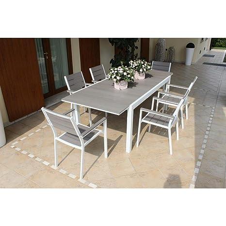 Tavoli Da Giardino In Alluminio Amazon.Tavolo Rettangolare Allungabile In Alluminio Bianco E Polywood