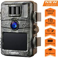 """Campark Upgrade T70 Trail Game Camera No Glow 16MP 1080P Night Vision Outdoor Hunting Cam Security Motion Activated Camera with 2.4"""" LCD and IP66 Waterproof Battery Powered"""