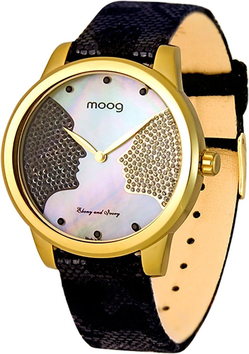 Moog Paris Ebony and Ivory - Reloj de mujer con esfera blanca, beige/multicolor, con elementos de Swarovski, correa plateada, negro, dorado, rosa, multicolor