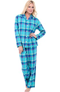 Alexander Del Rossa Womens Flannel Pajamas with Piping, Long Cotton Pj Set