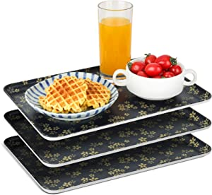 ComSaf Serving Tray Food-Grade Melamine 13 x 9 Inch (3PCS),Plastic Serving Platters Rectangle Food Tray, Decorative Non-Slip Serve Tray for Coffee Table, Kitchen, Restaurant, Café, Party, Buffet,Black