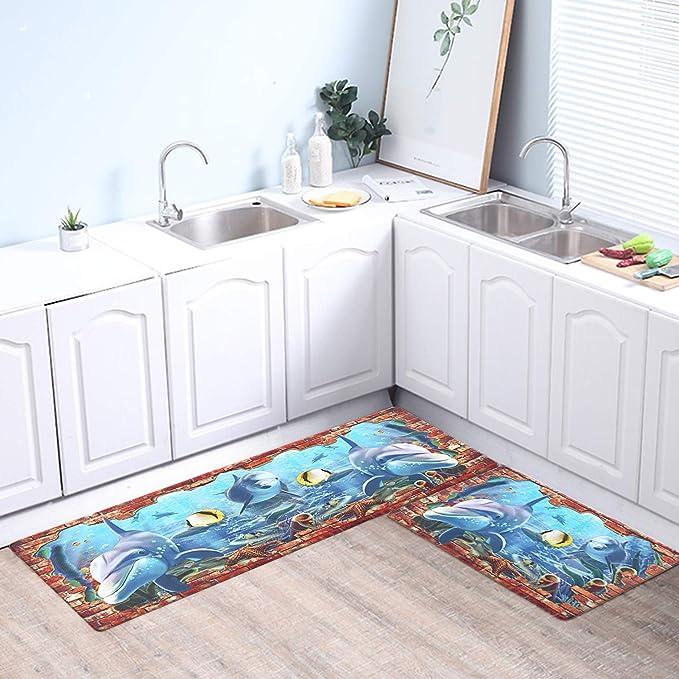 Kimode 2 Piece Farmhouse Kitchen Rugs And Mats Anti Fatigue Kitchen Rug Runner Set Non Slip Waterproof Comfort Soft Cushioned Standing Kitchen Floor Mats 18 X 29 18 X 47 Kitchen Rugs Home Kitchen