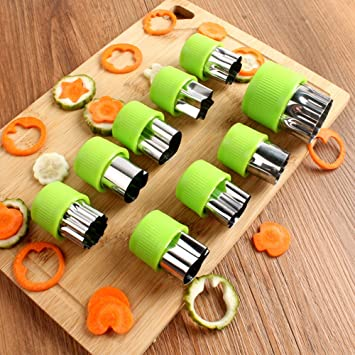 Verduras moldes formas Set 9 pcs – acero inoxidable de galletas, fruta molde queso prensas
