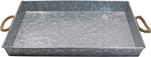 MV Galvanized Metal Rectangular Serving Tray for Home, Office, Party, Wedding, Spa, Serving - Jumbo Serving Tray & Display Perfect for Rustic, Vintage Decoration in Kitchen & Dining Room