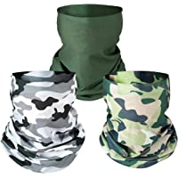 PAMASE 3 Pcs Camo Hunting Face Mask, Camouflage Microfiber Sun UV Dust Wind Protection Face Neck Gaiter Headwear for…