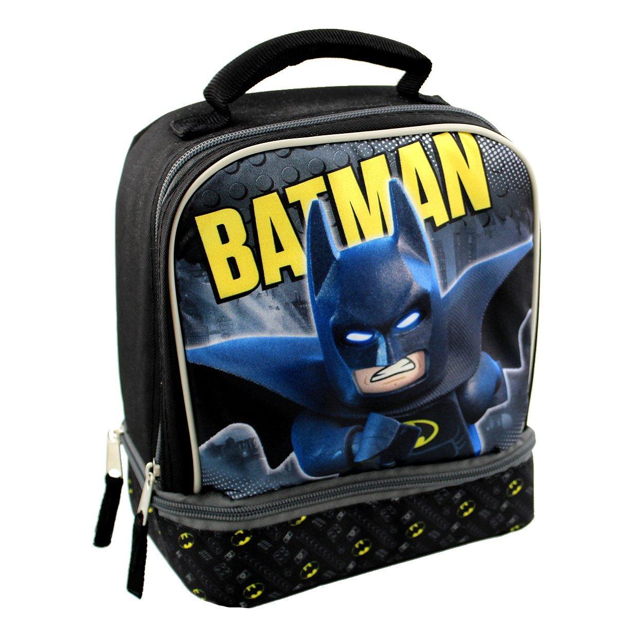 Lego Batman Dual Compartment Soft Lunch Box (Black/Grey)