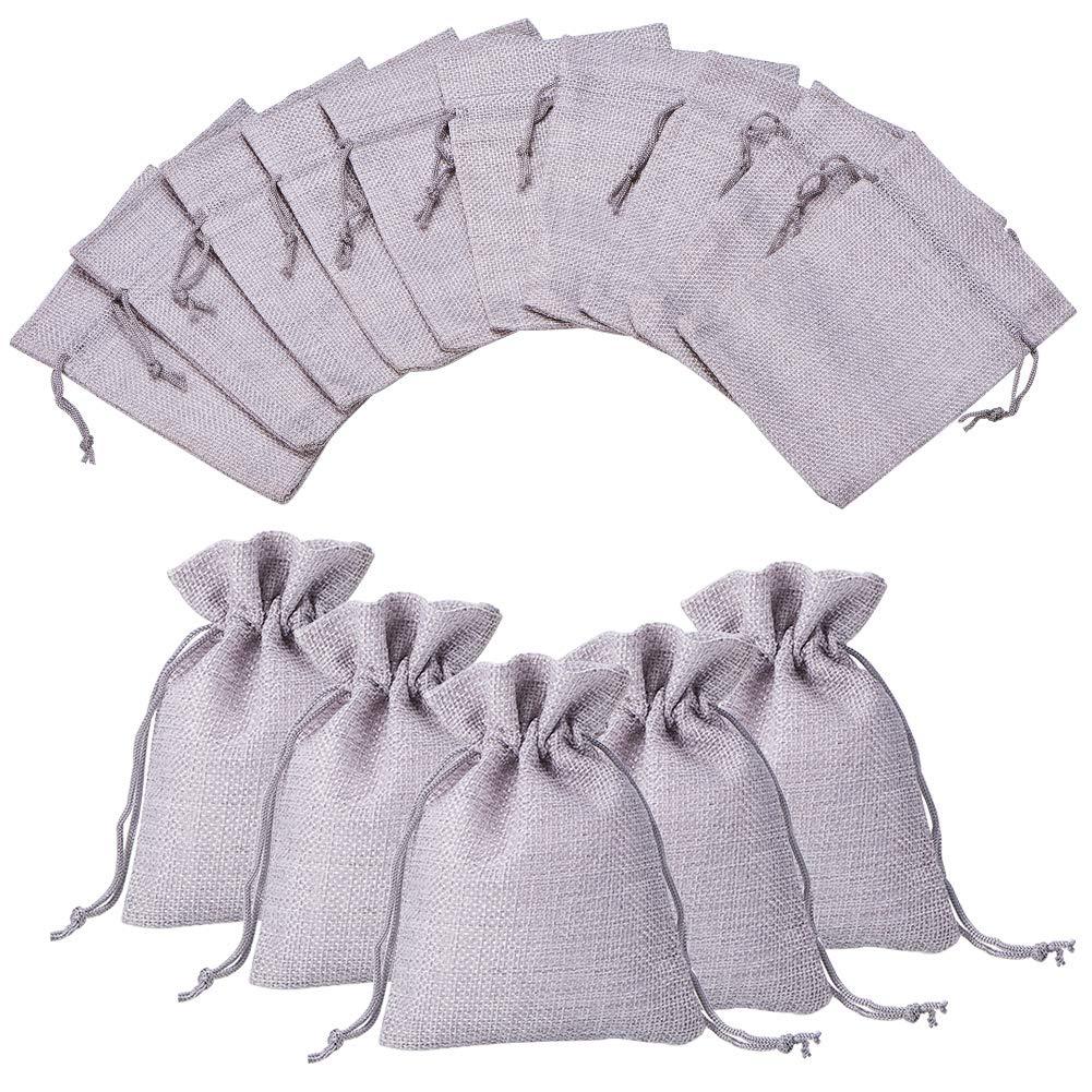 Nbeads Lot de 100pochettes à bijoux Sacs en toile de jute avec cordon de serrage pour fête de mariage cadeaux d'emballage, 13.5x 9.5cm ABAG-R004-14x10cm-03