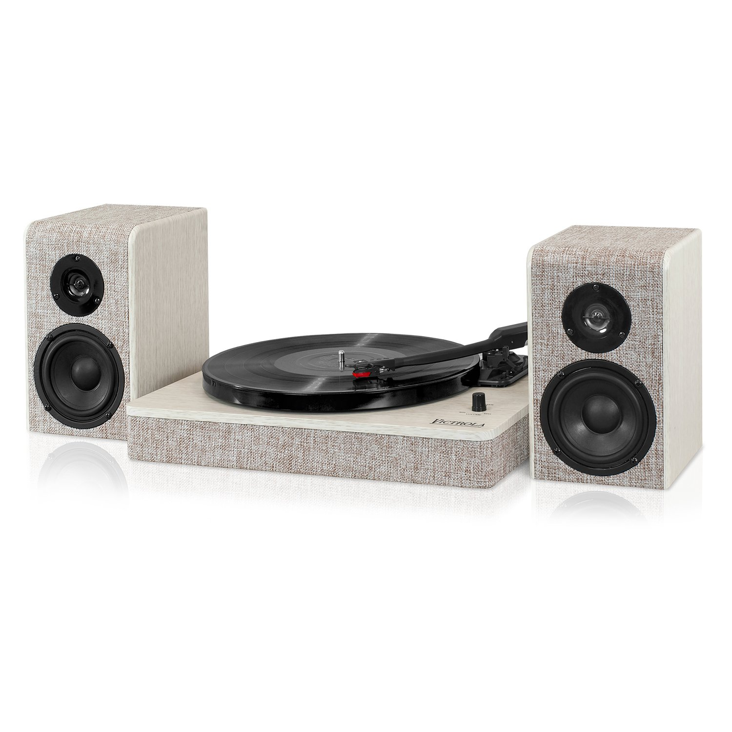Victrola Modern 3-Speed Bluetooth Turntable with 50 Watt Speakers, White Wood and Linen Fabric Finish