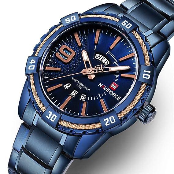 Watch Hombre analógico - Digital Cuarzo Reloj Digital con Correa de Acero Inoxidable 9117: Amazon.es: Relojes
