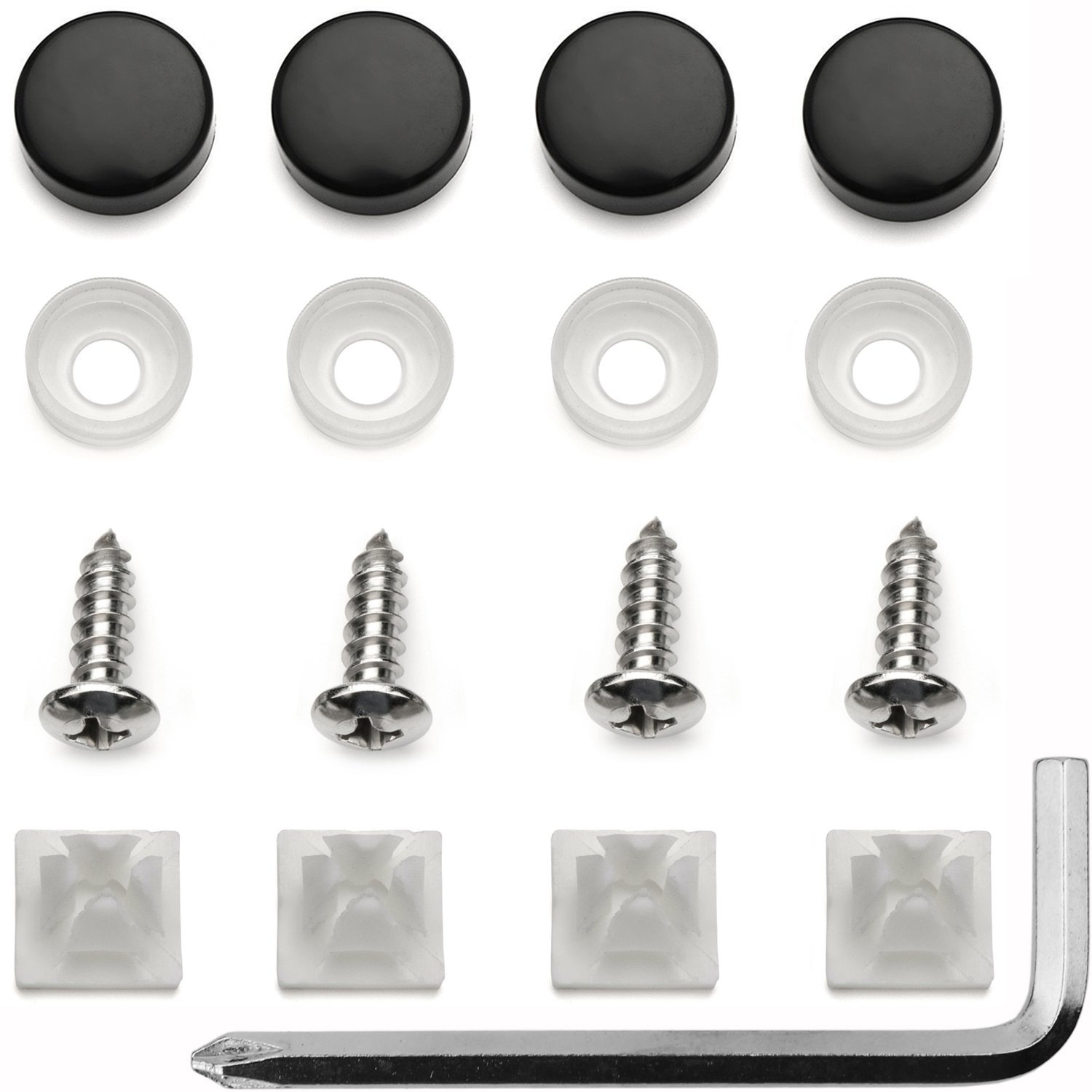 B00B5ZYY38 Stainless Steel License Plate Frame Screws Fasteners + Black Screw Caps 71Ez6bbZGKL