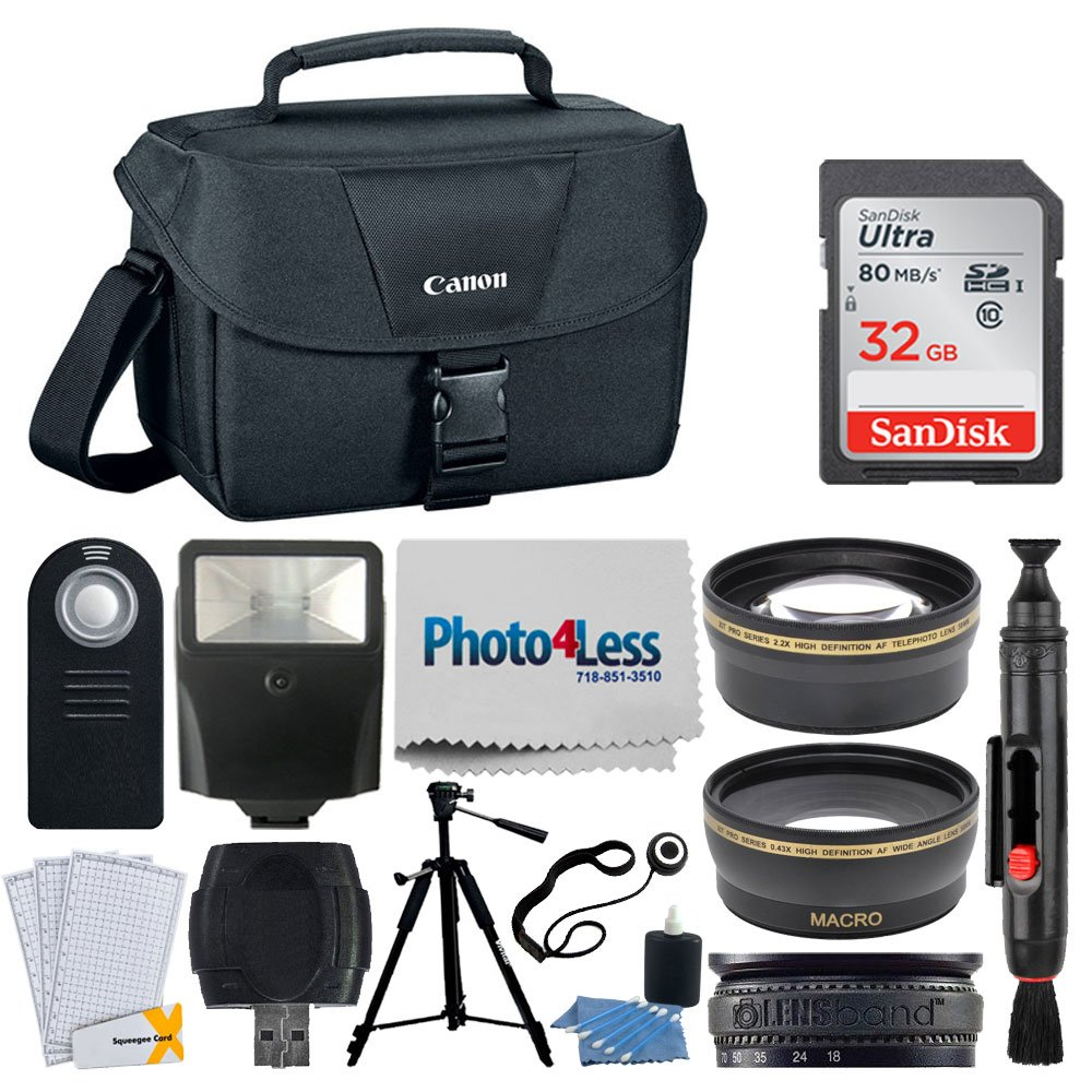 Canon EOS Bag 100ES + 32GB Memory Card + 58mm Telephoto & Wide Angle Lens + Flash + Remote + Tripod + Card Reader – Top Accessory Bundle for Canon T6, T6i, T7i, 80D, 77D, SL2 with 18-55mm STM Lens by PHOTO4LESS