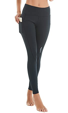 2839e2da97 COOLOMG Women's Yoga Pants High Waist Compression Leggings Gym Running  Tights with Deep Pockets Black S