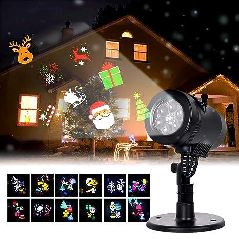 Albrillo Luz de Proyección LED para Navidad - Proyector con Varios Diapositivas, IP44 Impermeable, Decoración Interior y Exterior para Navidad ...