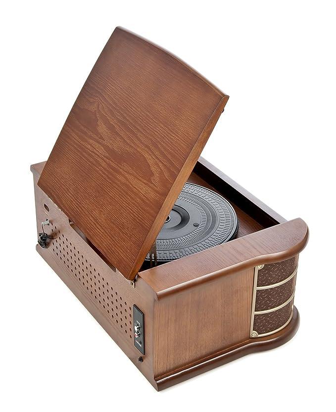 Dual NR 4 Nostalgie - Cadena musical con tocadiscos (radio FM/AM, CD-RW, MP3, USB, casete, entrada auxiliar), color marrón (importado)