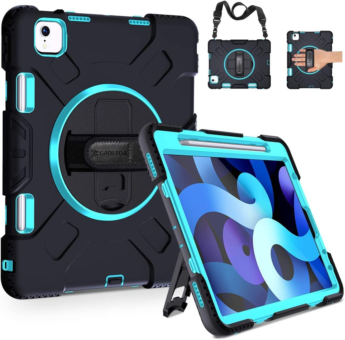 GROLEOA iPad Air 4th Generation Case, iPad Air 4 Case 10.9 inch 2020,Heavy Duty Shockproof Protective Cover with Pencil Holder Rotating Stand Hand Shoulder Strap for iPad Pro 11 inch 2020/2018