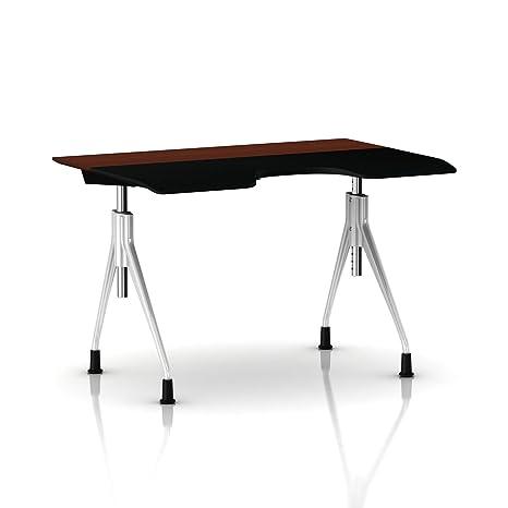 Herman Miller Envelop Desk : Metallic Silver Base - Medium Brown Walnut Veneer Top