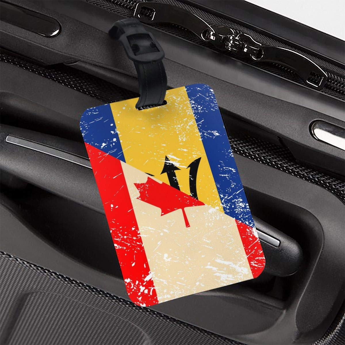NB UUD Canada and Barbados Retro Flag Travel Luggage Tag Printed Employees Card Luggage Tag Holders Travel ID Identification Labels for Baggage Suitcases Bags