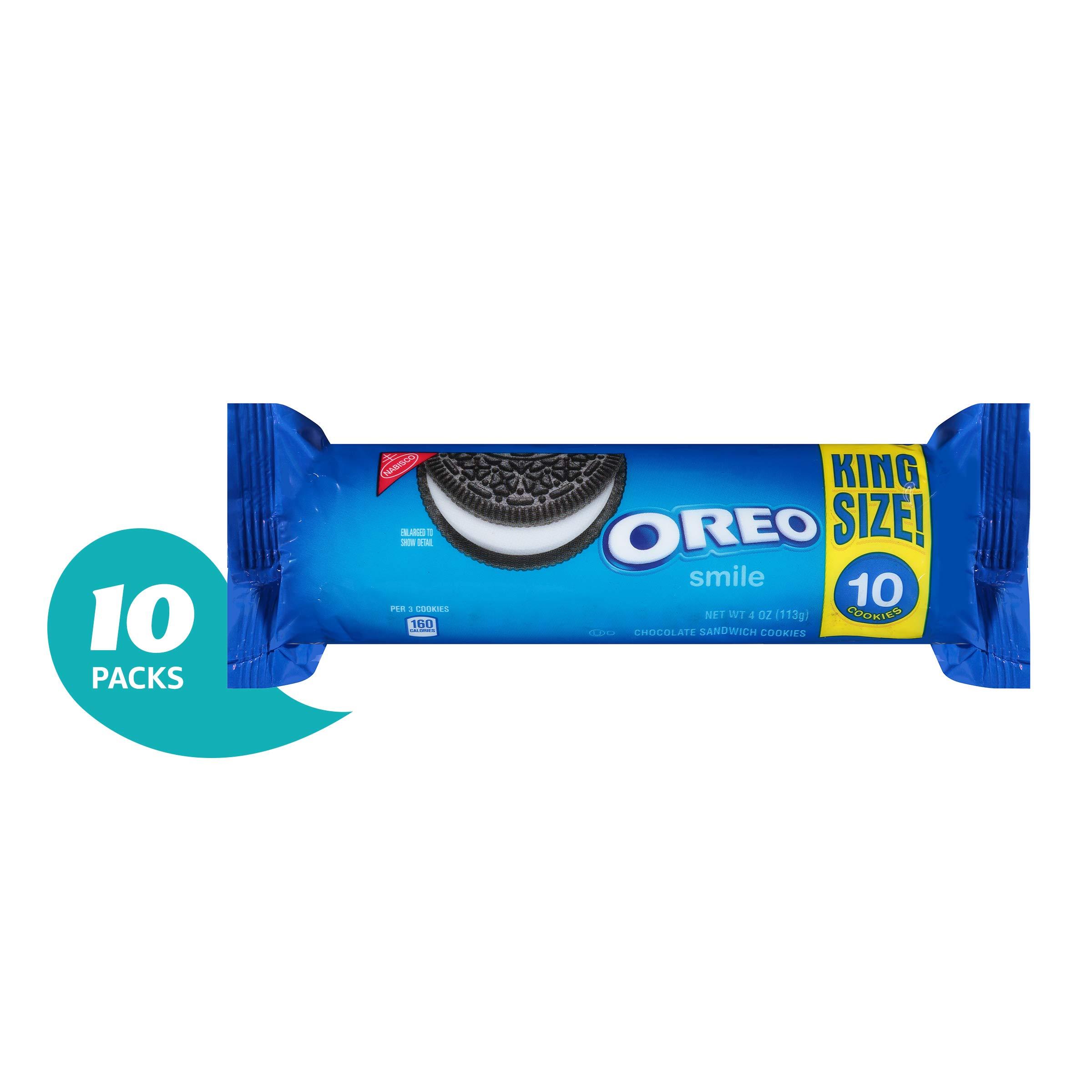 OREO Chocolate Sandwich Cookies, Original Flavor, 10 King Size Snack Packs (100 Cookies Total)