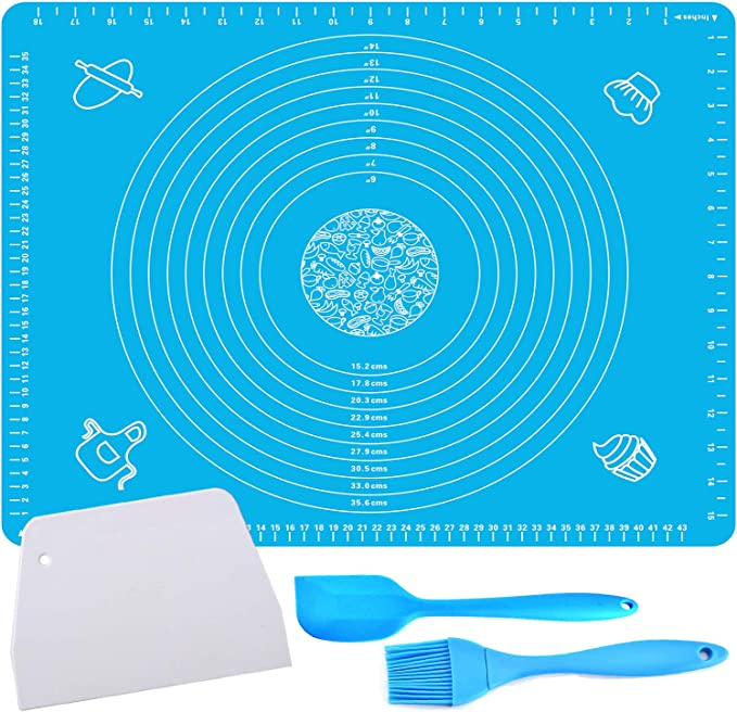 Reusable Non-Stick Large Silicone Pastry Mat for Housewife Silicone Baking Mat for Pastry Rolling with Measurements,Large 28 x 20 ;Liner Heat Resistance Table Placemat Pad Pastry Board 20 x 28