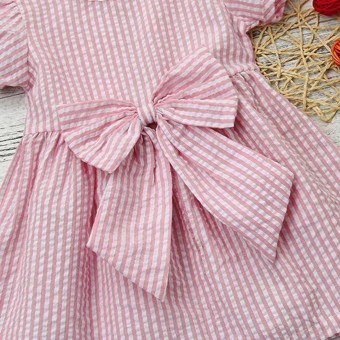 1cca49b5666d4 Beikoard Girl clothing Fashion Sweet Beautiful Baby Girls Infant Toddler  Kids Clothes Stripe Bow Princess Outfits Dress (100, PK): Amazon.co.uk:  Garden & ...