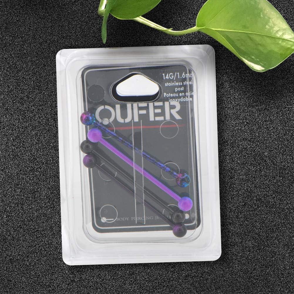 Oufer Lot de 4 piercings industriels en acier inoxydable 14 g Violet Noir