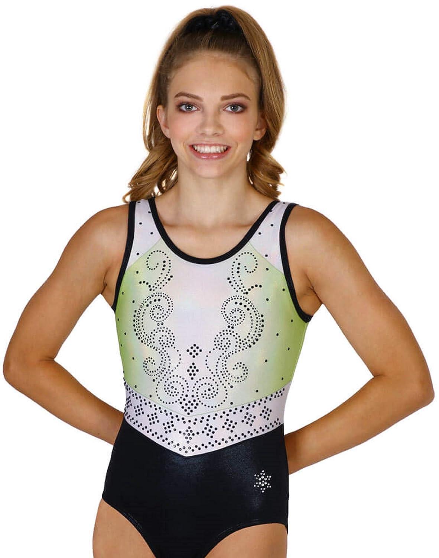 Snowflake Designs Royalty 体操ノースリーブ競技用タンクレオタード ブルー グリーン グリーン Child Large (small 8-9 year old)