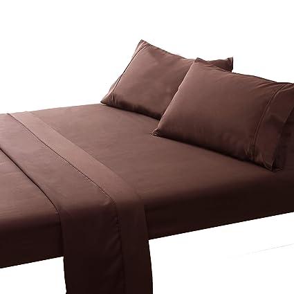 Amazoncom Ayasw Elegant Bed Sheet Set 4 Piece Mocha Queen Size