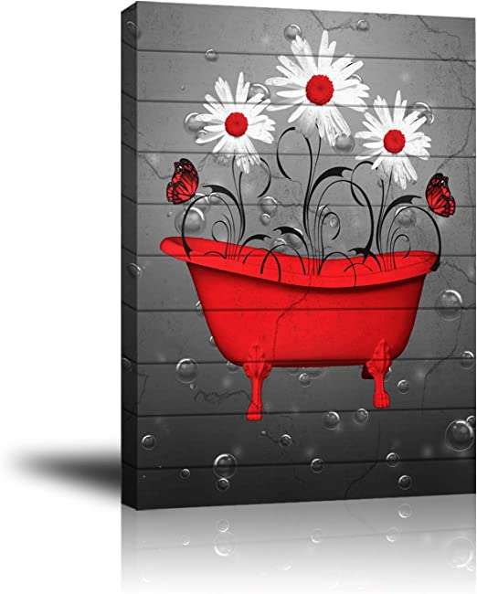 Amazon Com Premium Giclee Canvas Wall Art Abstract Canvas Wall Decor With White Gray Daisy Framed Prints Pictures To Hang For Livingroom Bedroom Bathroom Kitchen Red Bathtub Posters Prints