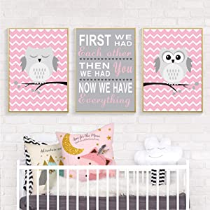 KELEQI Cartoon Poster and Print Pink Cute Owl Nursery Decor New Gift Canvas Painting Wall Art Pictures Girls Room Home Decor (20x35cm) X3 Frameless