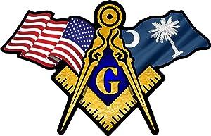 "ProSticker 075 (One) 3"" X 5"" Masonic Series American & South Carolina Flag Compass Square Decal Sticker"