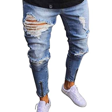 Bold Manner Herren Jeans Zerrissen Stretch Löcher Jeans Freizeit