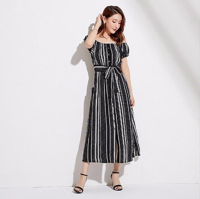 WBXZAL Vestido Verano Coreano Rayas, Cintura Alta, Manga Corta, Manga Corta, Falda