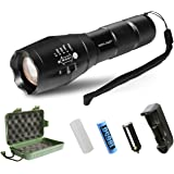 LED Tactical Flashlight,SDFLAYER T6 High Powered Handheld Torch with Rechargeable 18650 Lithium Ion Battery and Charger , 5 Modes Zoomable Adjustable Focus For Hiking, Camping, Emergency