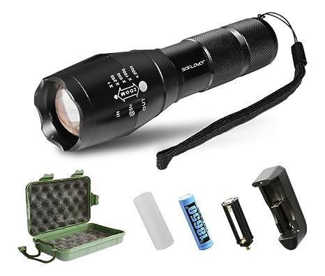 Amazon.com: SDFLAYER T6 Linterna táctica LED de alta ...