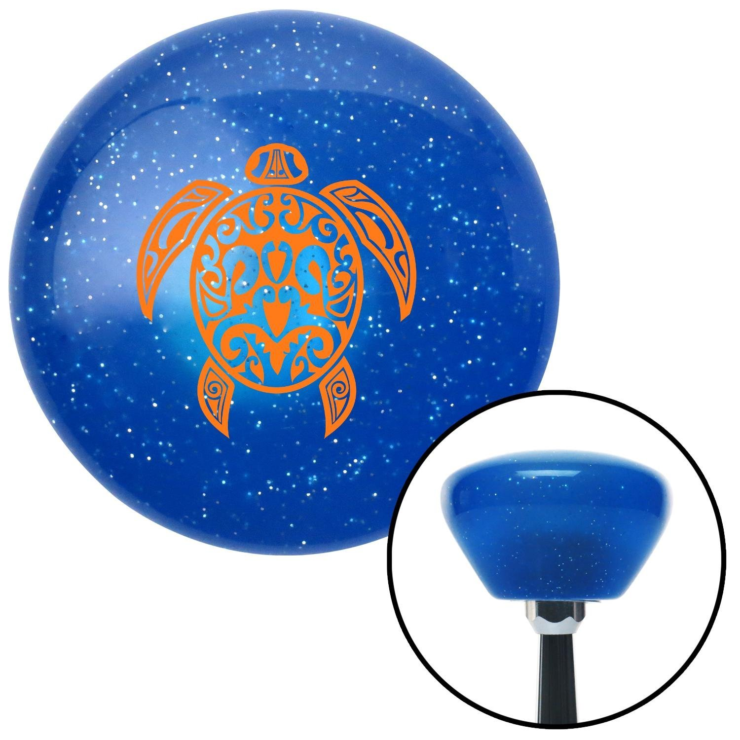 Orange Giant Turtle American Shifter 190050 Blue Retro Metal Flake Shift Knob with M16 x 1.5 Insert