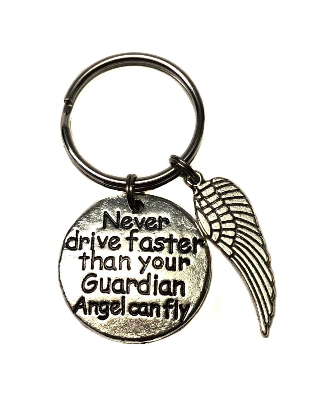 Heart Projects Never Drive Faster Than Your Guardian Angel Can Fly Angel Wing Charm Keychain, Bag Charm, Zipper Pull New Driver Sweet 16 Gift