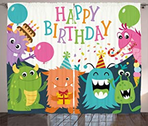 """Ambesonne Birthday Party Curtains, Little Baby Monsters with The Party Cones Rain and Balloons Image, Living Room Bedroom Window Drapes 2 Panel Set, 108"""" X 108"""", Sage Green"""