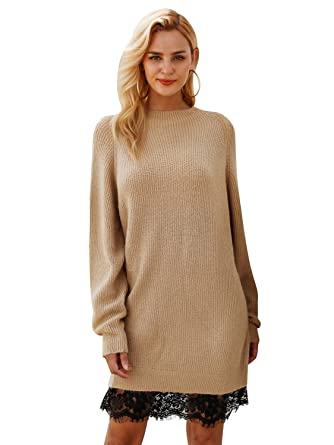 529b1b05c084 Simplee Women s Fall Winter Sweater Long Sleeve Lace Knit Dresses Mini  Brown at Amazon Women s Clothing store