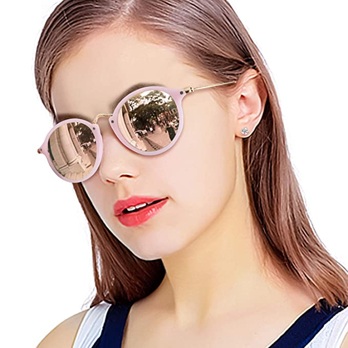 2f278bebc63 Vintage Round Polarized Mirrored Sunglasses for Women Small Retro Circle  Frame-UV 400 Protection (