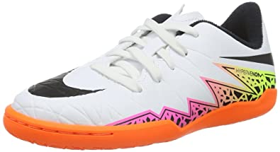 0a4c90a6a2c31d Nike Kids Hypervenom Phelon Indoor White Black-Total Orange Volt Shoes - 4.5