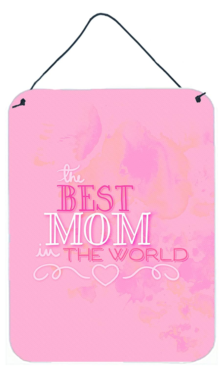 Carolines Treasures The Best Mom in The World Pink Metal Print 16 H x 12 W Multicolor