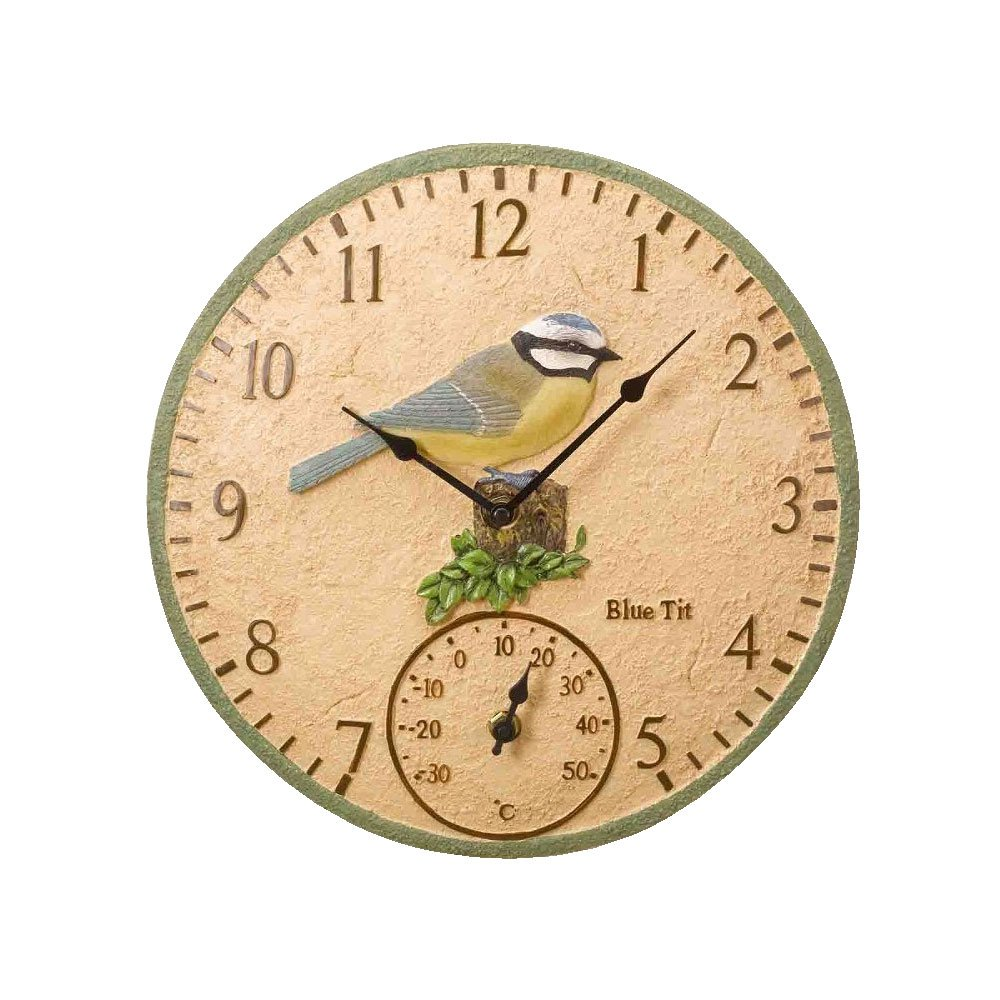 Blue Tit Wall Clock and Thermometer by Smart Garden: Amazon.co.uk ...