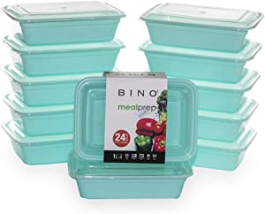 BINO Meal Prep Containers with Lids - 1 Compartment /33 oz [12-Pack], Light Blue - Bento Box Lunch Containers for Adults Food Containers Meal Prep Food Prep Containers Set