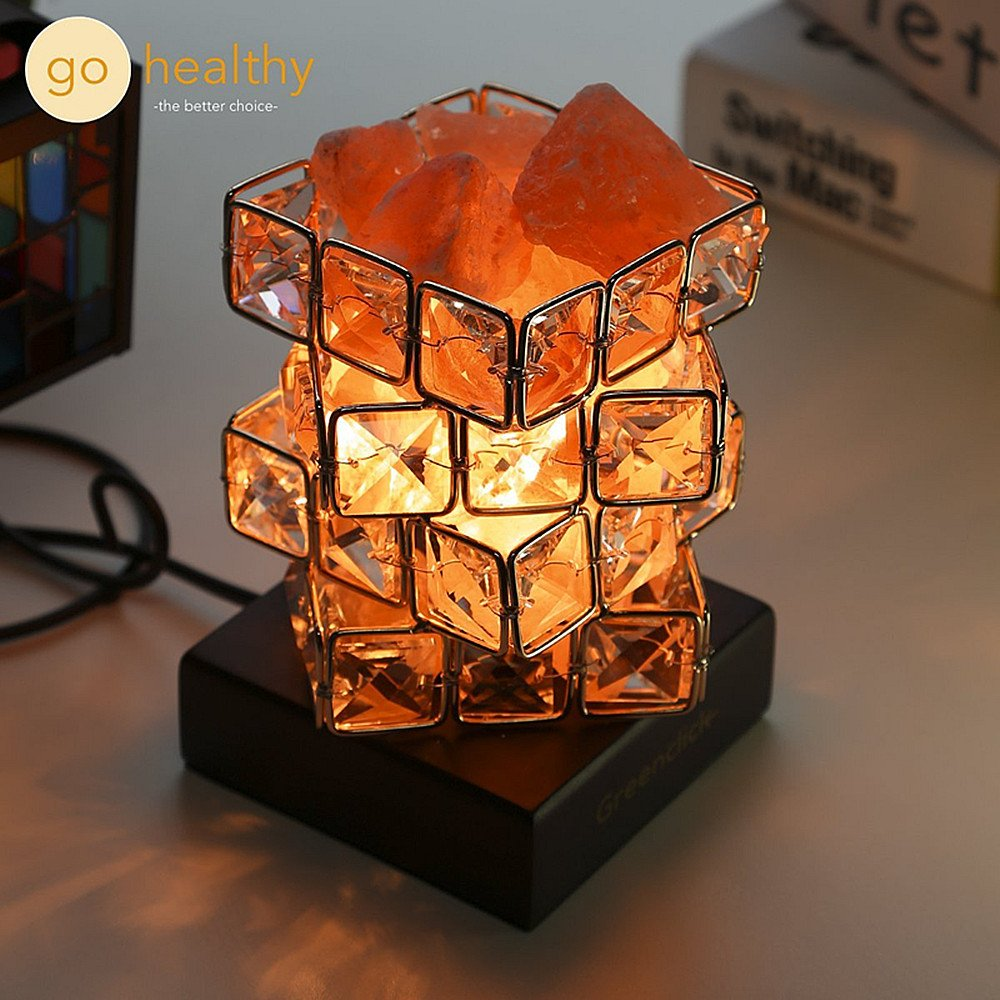 Himalayan Salt Lamp Pink Salt Rock Night Light, Greenclick Himalayan Ionic Natural Salt Crystal Lamp Coming With Wooden Base,Dimming Switch & Ul-Listed Cord Best Gift Idea