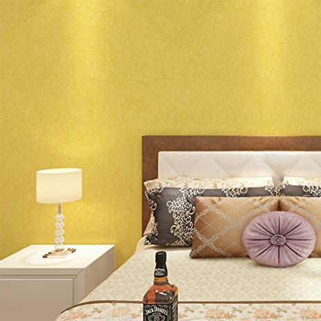 HaokHome 3052 Non Woven Solid Color Wallpaper Bright Yellow Long ...